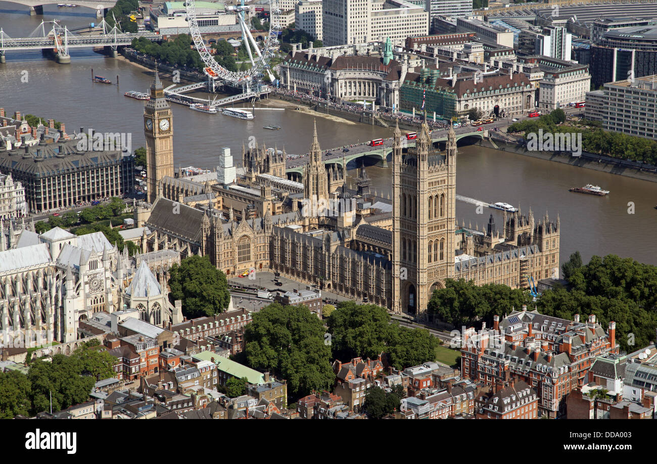 aerial view of The Houses of Parliament in London SW1 - Stock Image