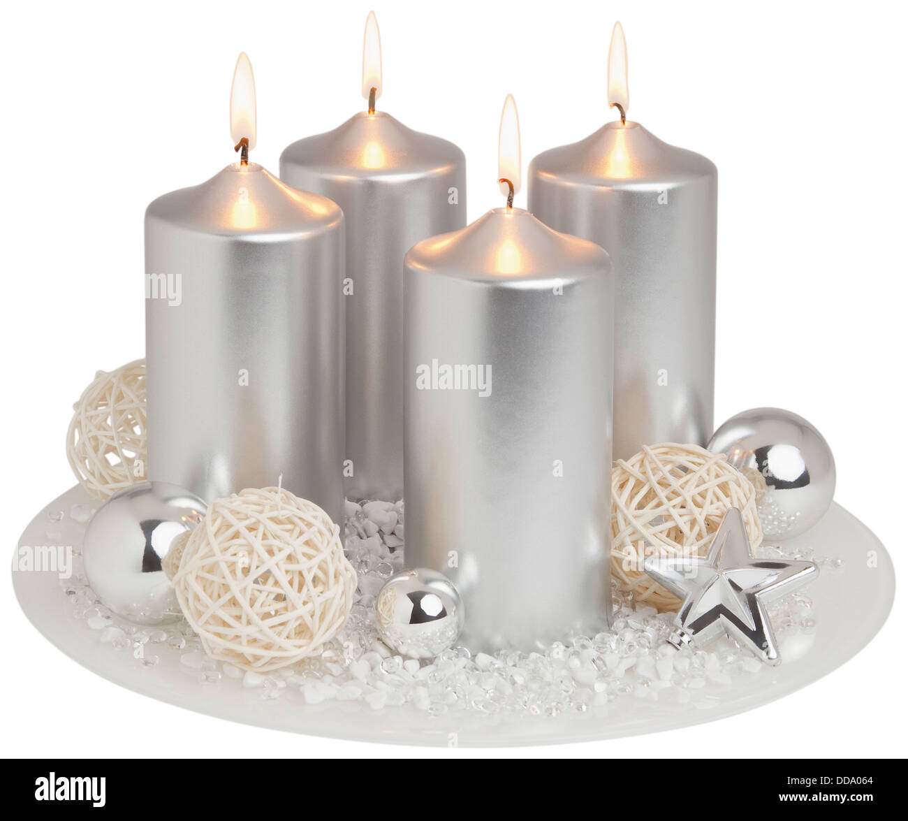 Advent wreath in silver on white background, close up - Stock Image