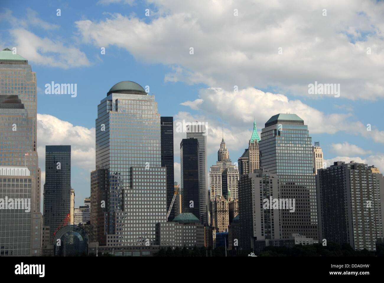 The World Financial Center buildings and Ground Zero from the Hudson River. Lower Manhattan West.  New York, New - Stock Image