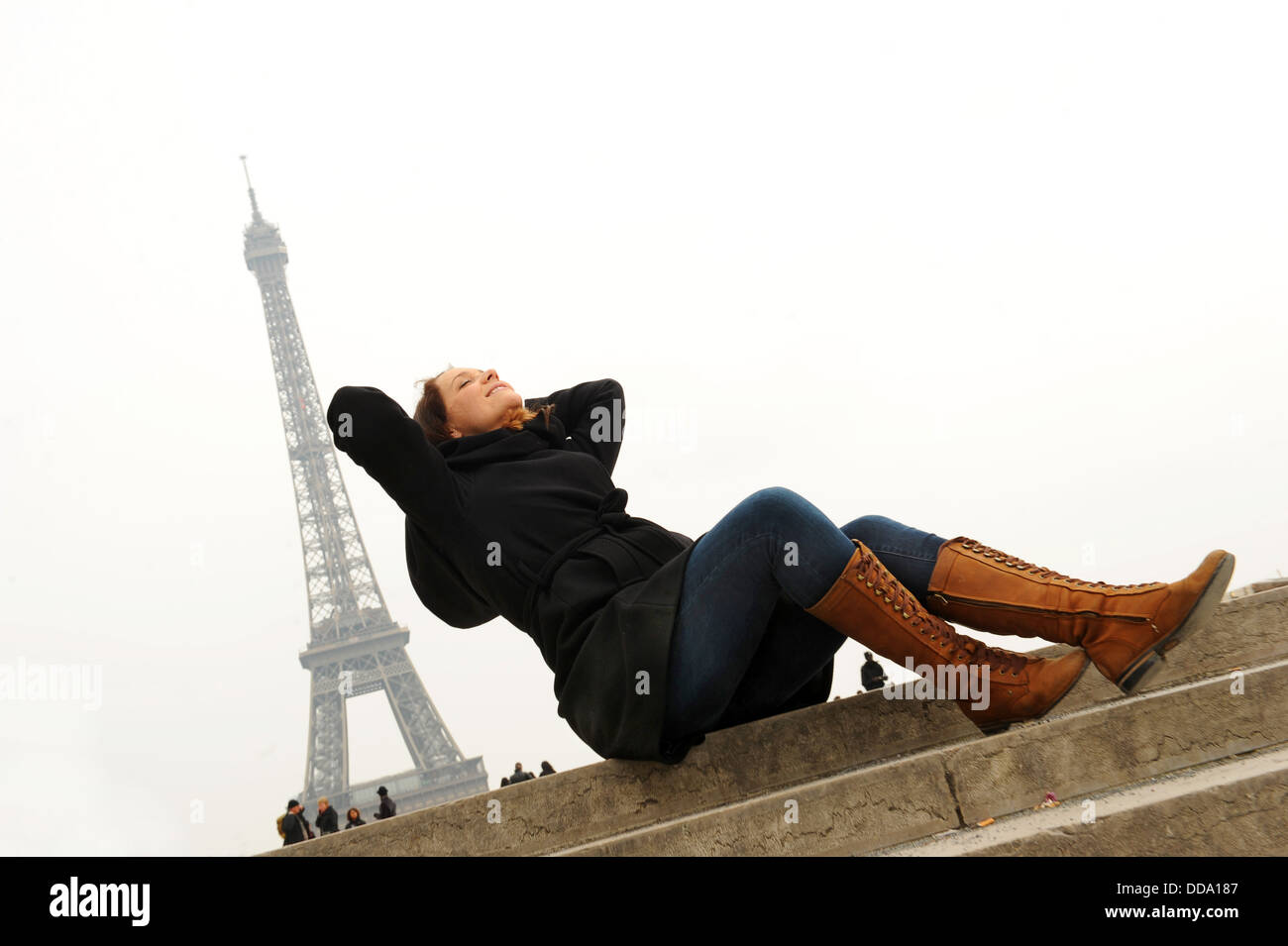 Woman relaxing on holiday break in Paris France - Stock Image