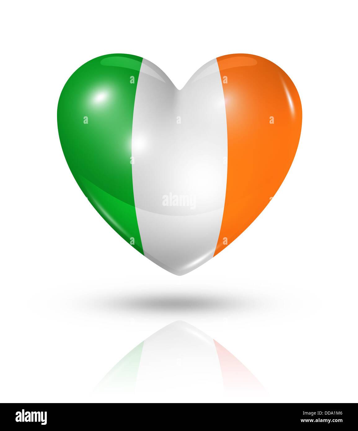 Love Ireland Symbol 3d Heart Flag Icon Isolated On White Stock
