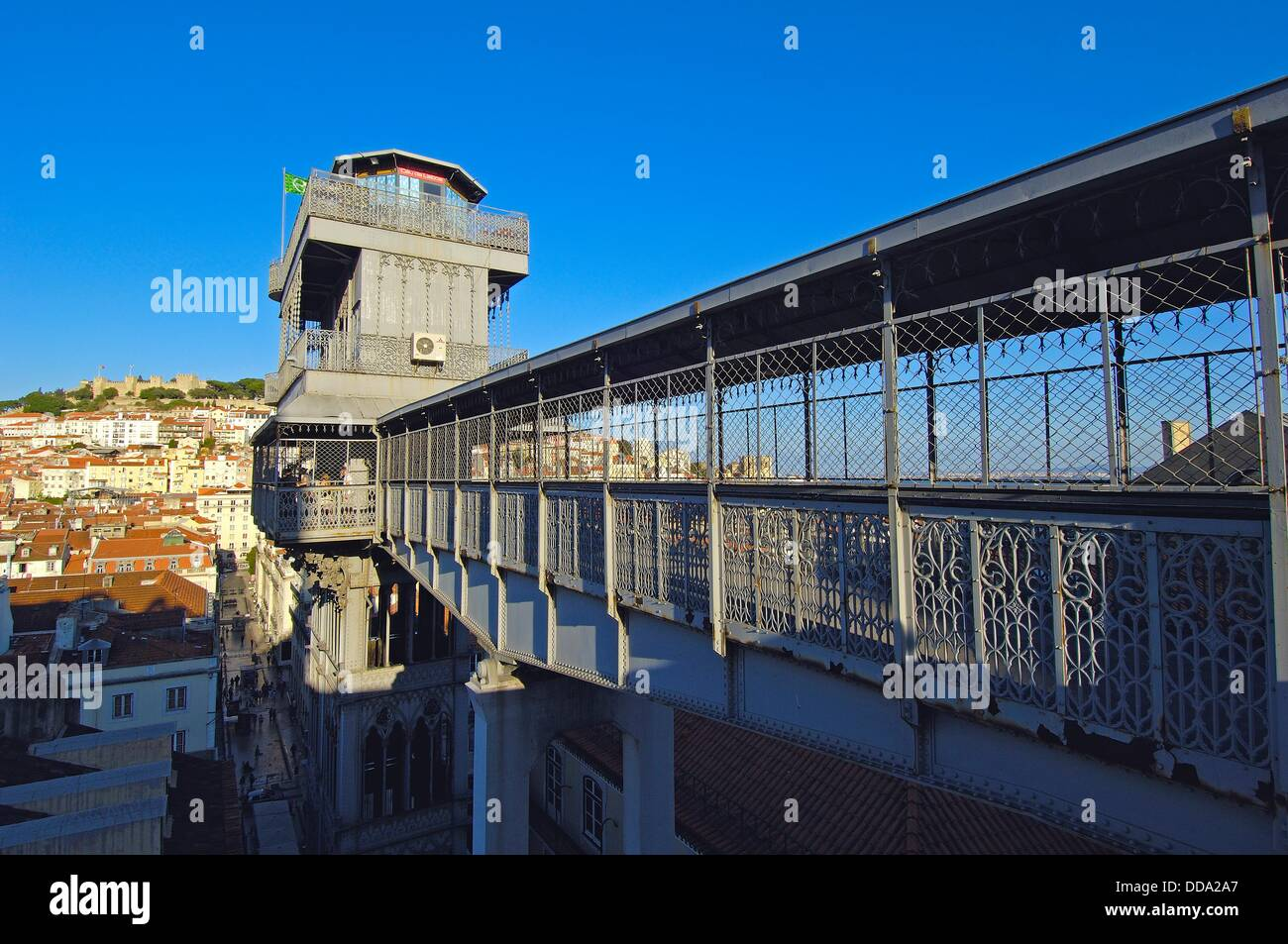 Lisbon, Santa Justa elevator and St  George´s Castle at background, Elevador de Santa Justa, Castelo de Sao Jorge, Stock Photo