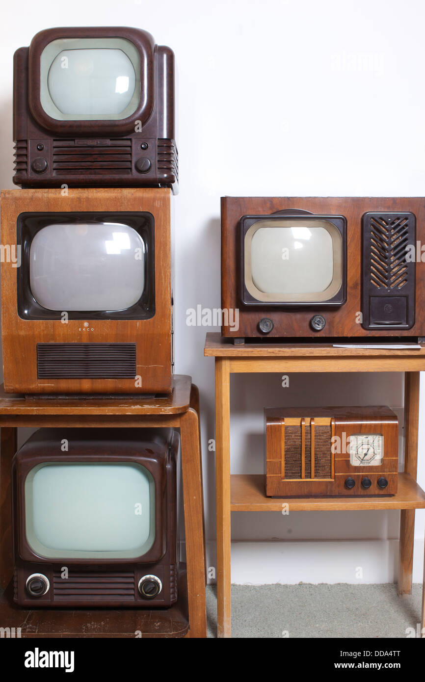 Bakelite television, with other old television sets, England, UK - Stock Image