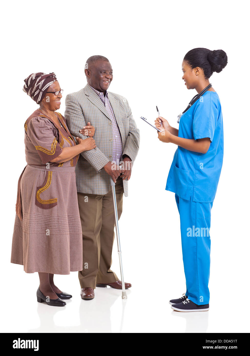young African medical nurse and elderly couple patient isolated on white background - Stock Image