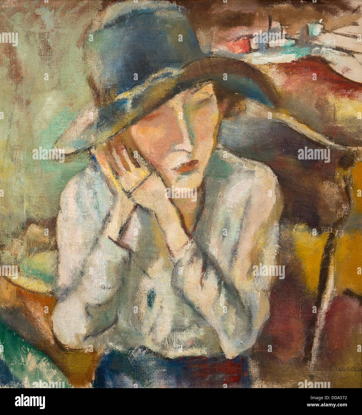 20th century  -  Hermine with Big Hat, 1917 - Pascin Philippe Sauvan-Magnet / Active Museum Oil on canvas - Stock Image