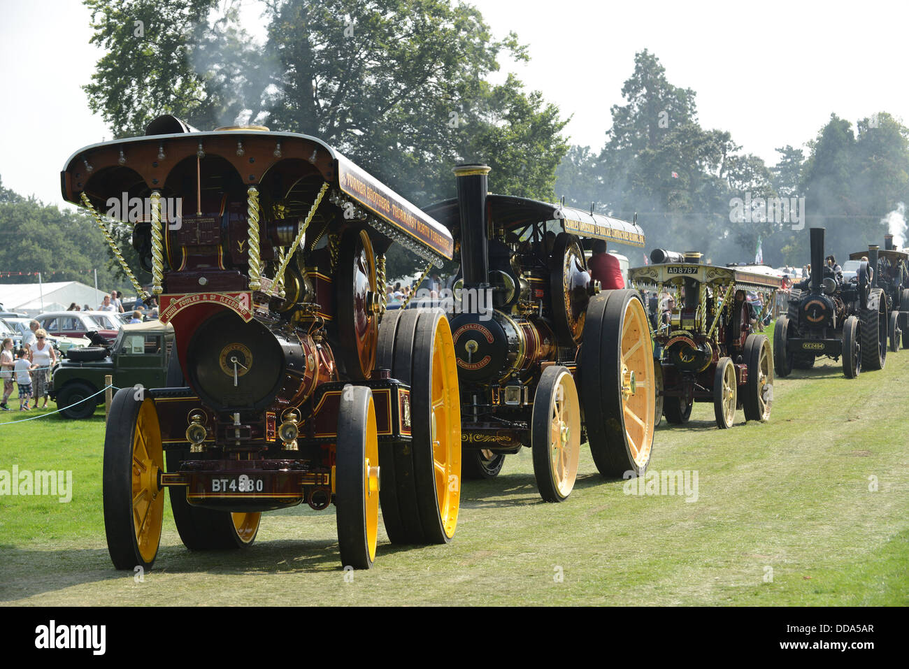 Parade of traction engines at Steam Rally show Shrewsbury 2013 - Stock Image