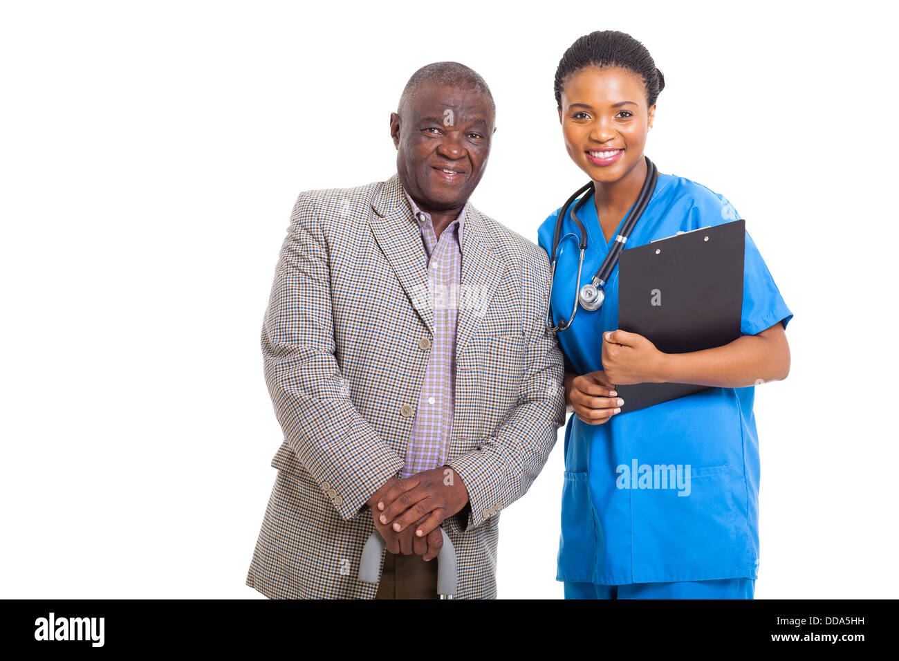 portrait of senior African American man with medical nurse isolated on white - Stock Image