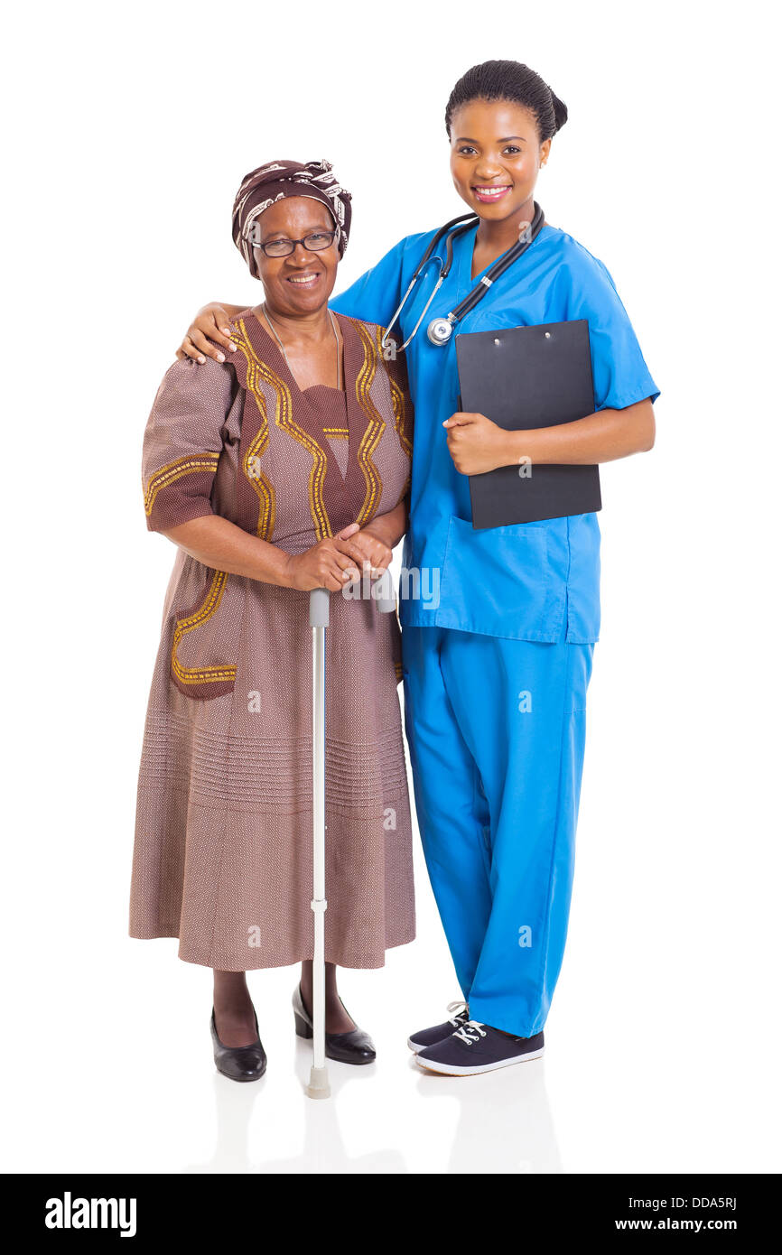 beautiful African nurse and senior patient isolated on white - Stock Image