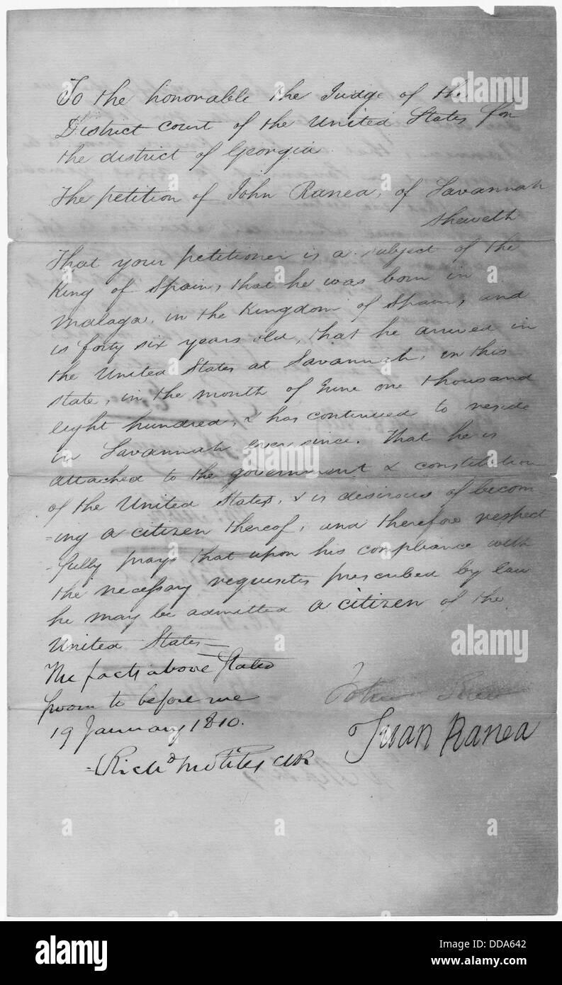 The naturalization petition of John Ranea. - - 279285 - Stock Image