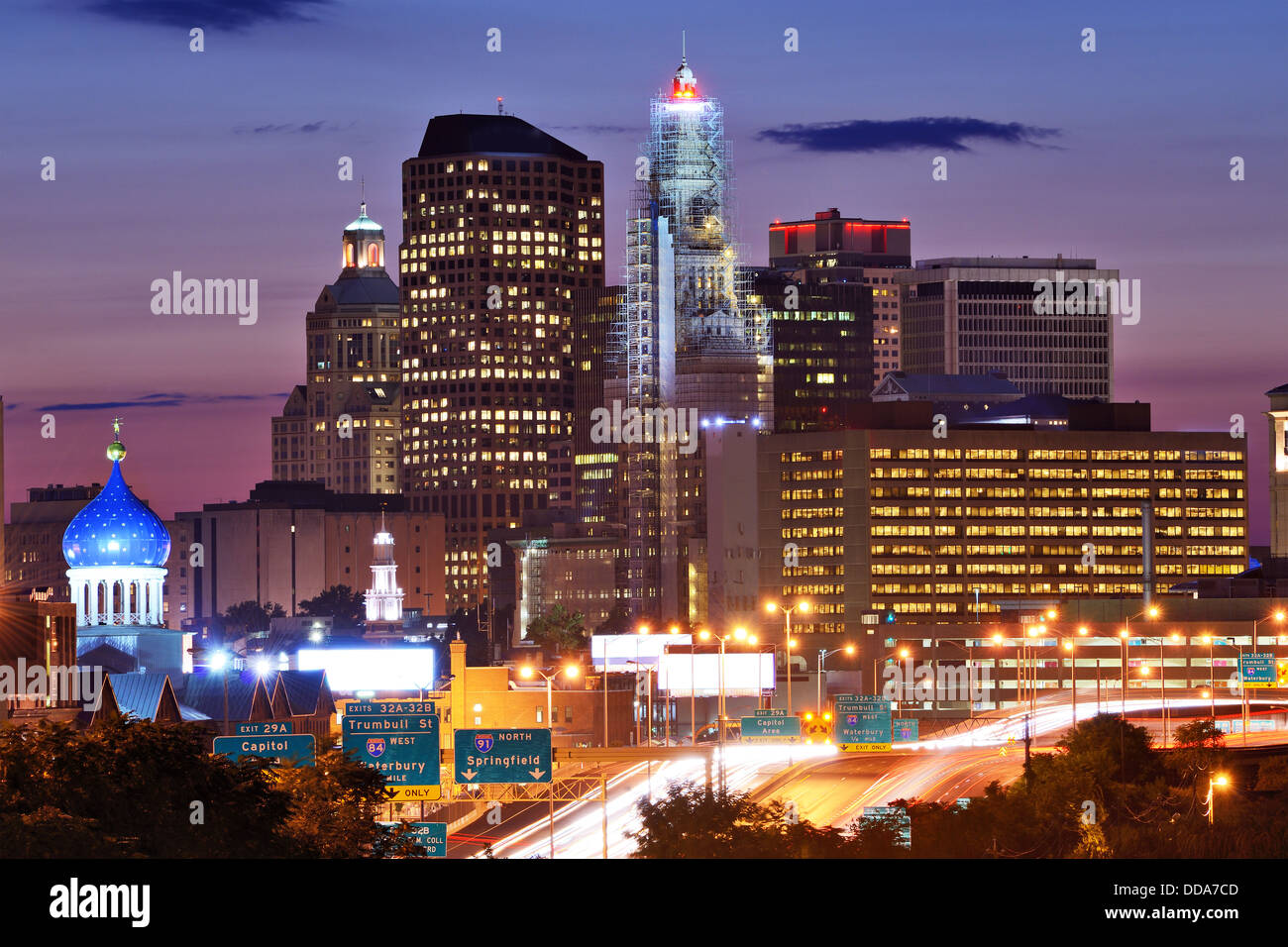 Skyline of downtown Hartford, Connecticut. - Stock Image
