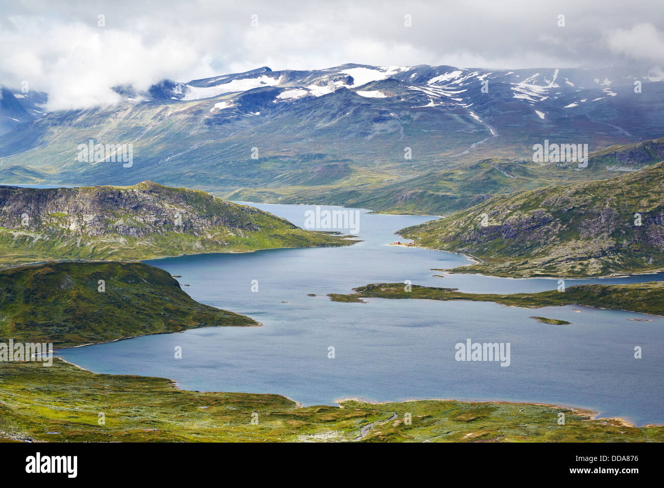 Lake Bygdin from the slopes of Bitihorn near Beitostollen in the Jotunheimen National Park Norway - Stock Image