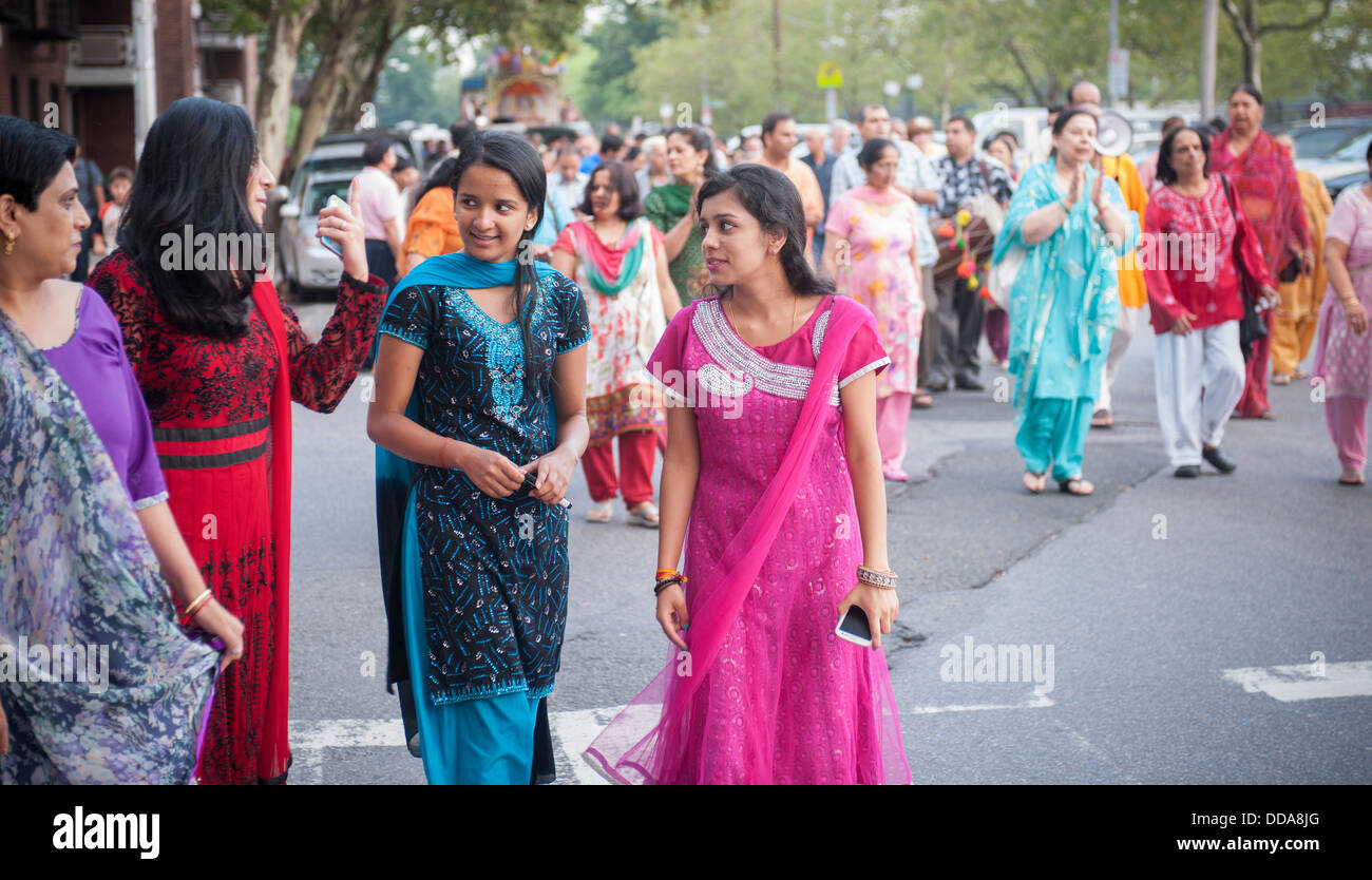 Hundreds of members of the Hindu Center march through the