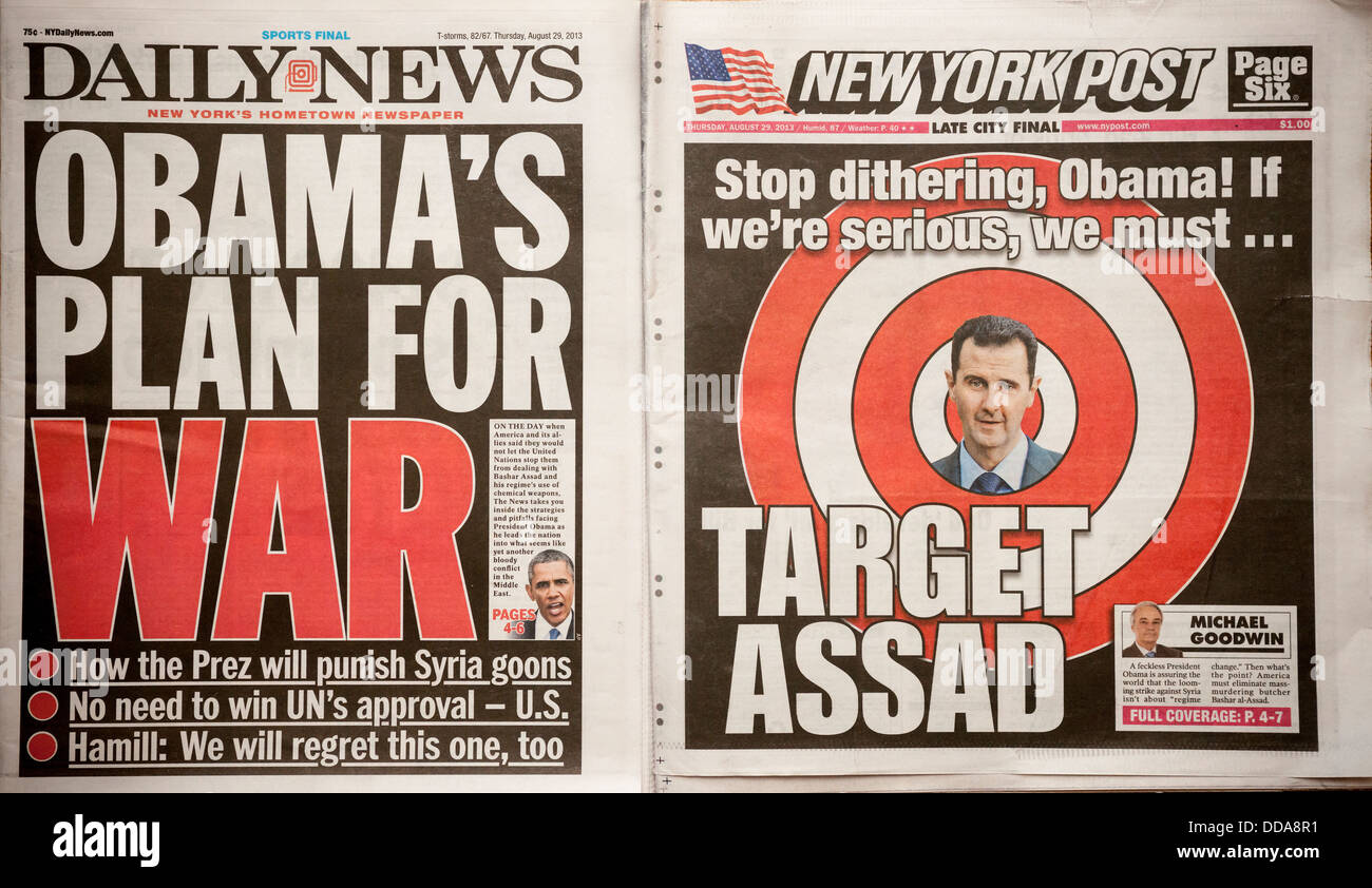 The New York Daily News and the New York Post use similar covers to report on Syria - Stock Image