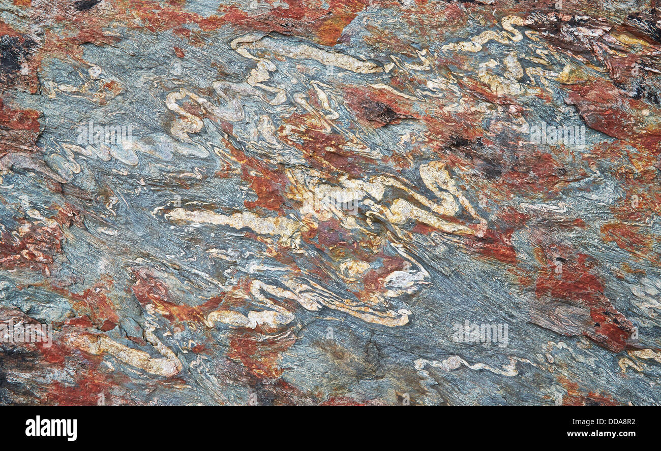 Marbled bands of quartz in rocks at Beitostollen - Jotunheimen Norway - Stock Image
