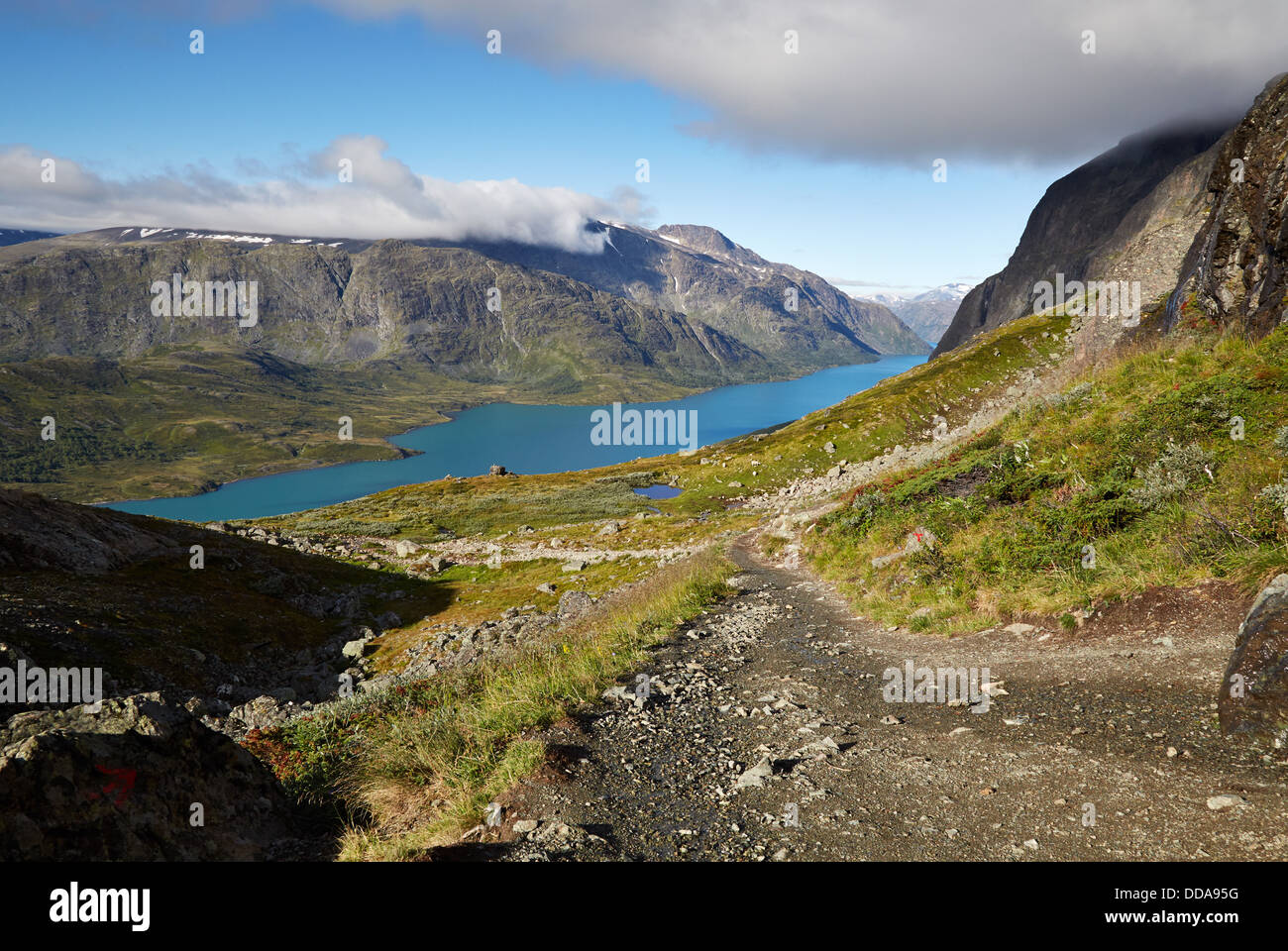 View of Lake Gjende from the ascent to the Besseggen Ridge walk Jotunheimen National Park Norway - Stock Image
