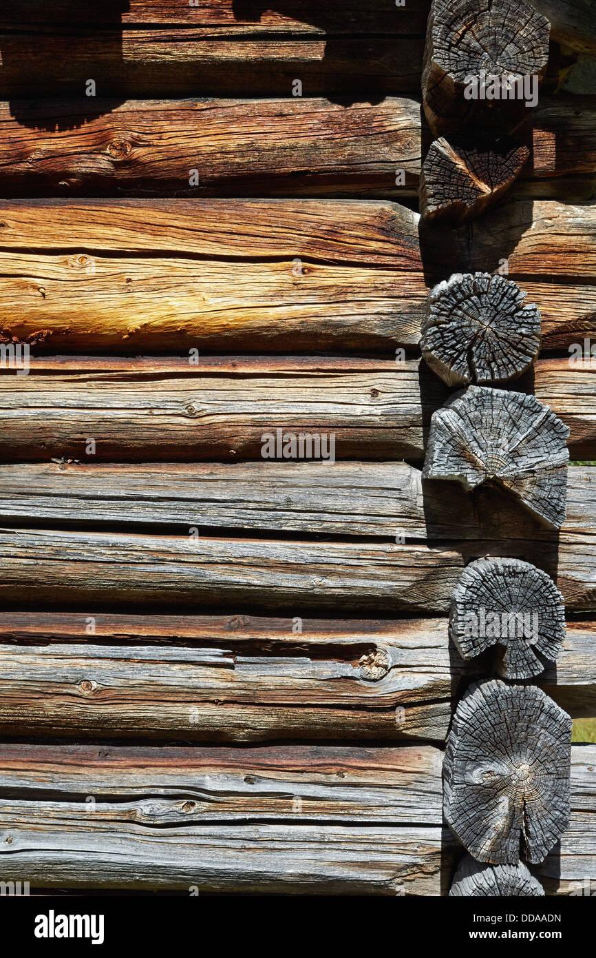Corner of a old Norwegian log cabin - Stock Image