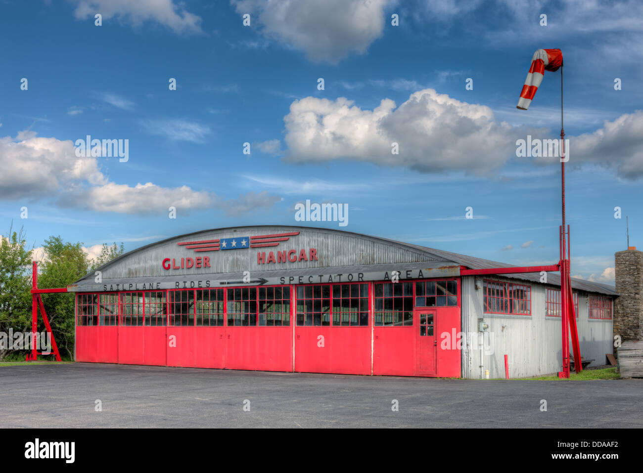 The Glider Hangar at Harris Hill Gliderport, the birthplace of soaring in the USA, located in Elmira, New York. - Stock Image