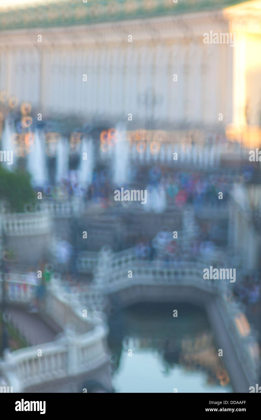 Alexander Garden and Manege Square in Moscow. Fountains and staircases. Shooting with a special filter - Stock Image