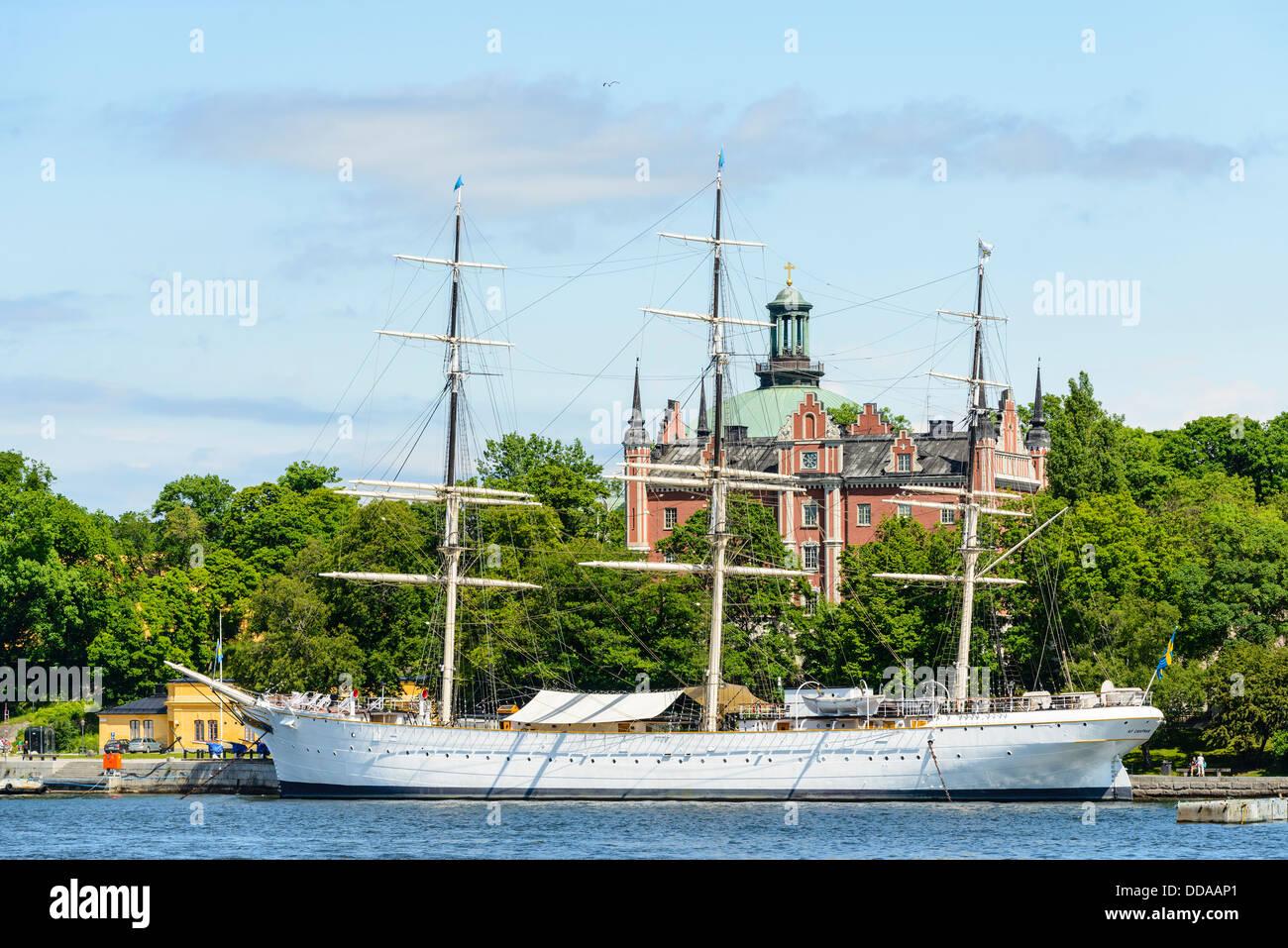 Sightseeing boat at Nybrokajen Stockholm Sweden - Stock Image
