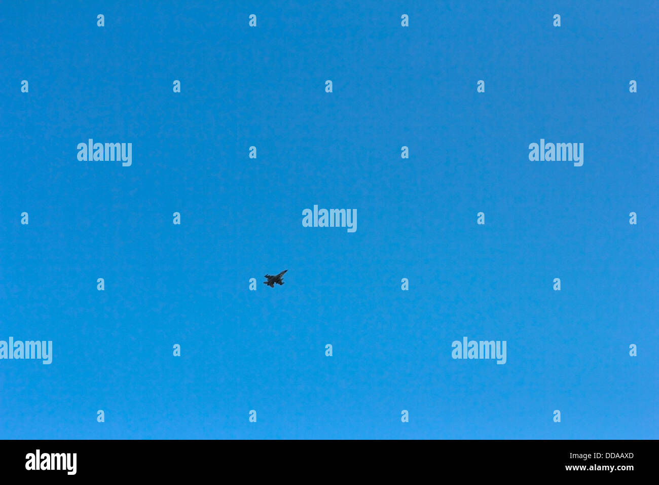 Jet above the natural area Griend, Netherlands Stock Photo