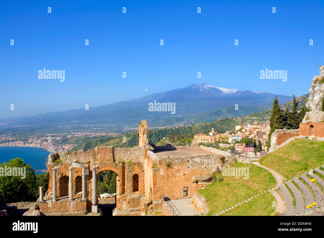 View of the Taormina's Ancient Greek Theater and Mount Etna in Taormina Sicily Italy - Stock Image