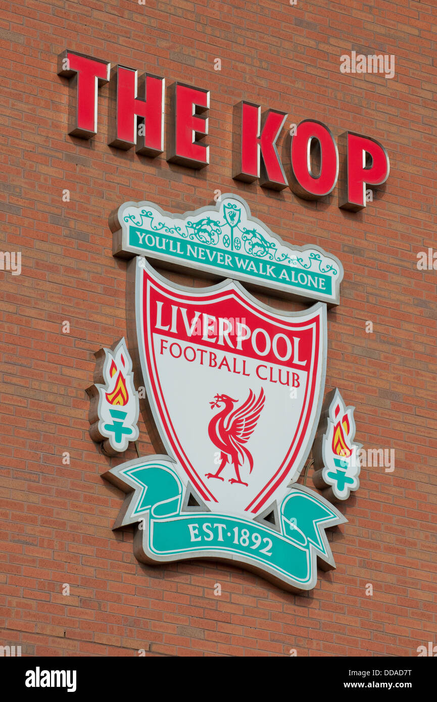 The Liverpool Football Club crest adorns the Spion Kop end of Anfield Stadium in Merseyside. (Editorial use only). - Stock Image