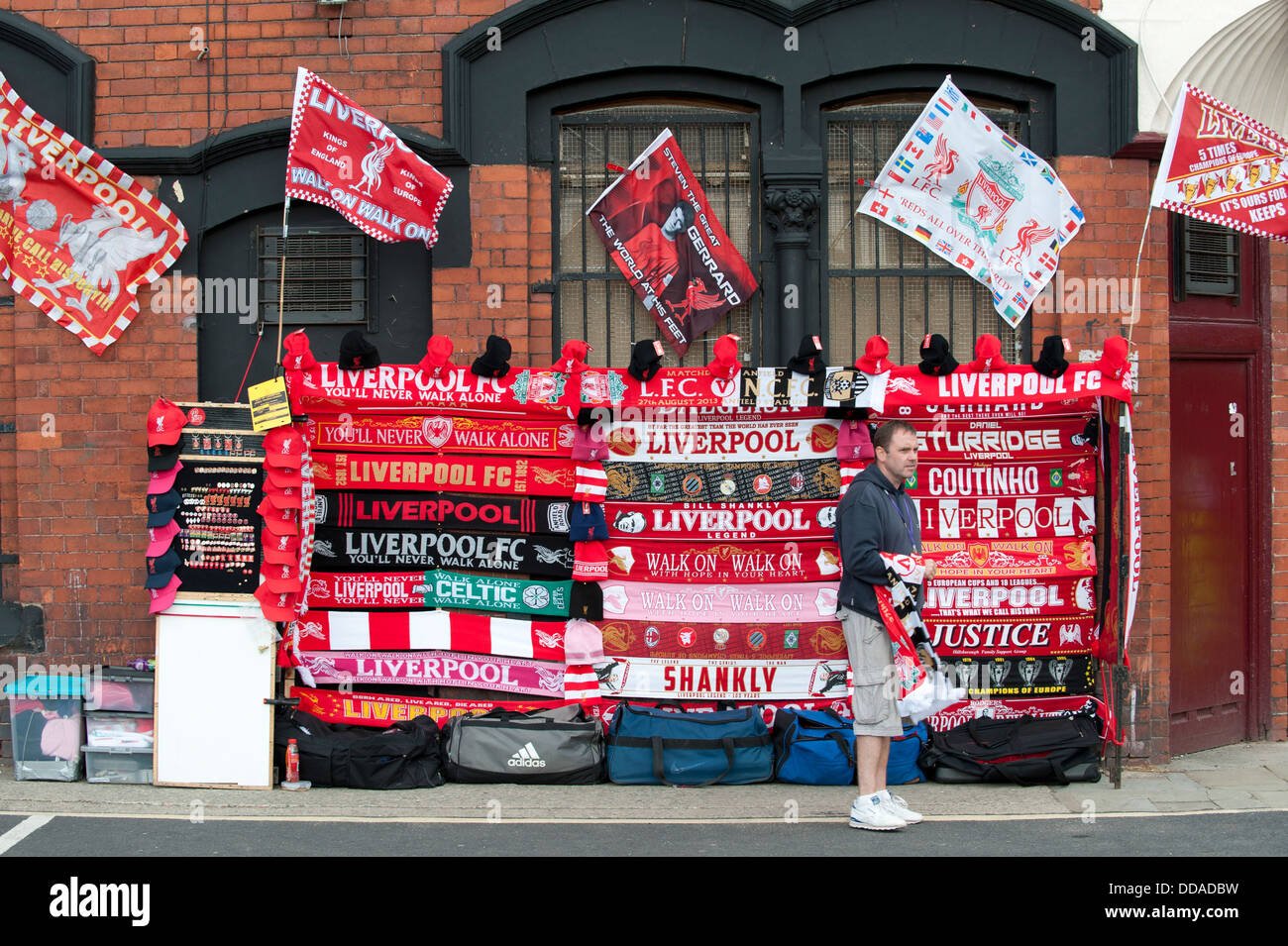 A shot of a football merchandise street trader near to Anfield stadium, home of Liverpool Football Club (Editorial - Stock Image
