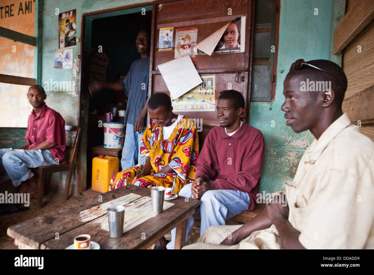 A coffee house in Boke, Guinea. - Stock Image
