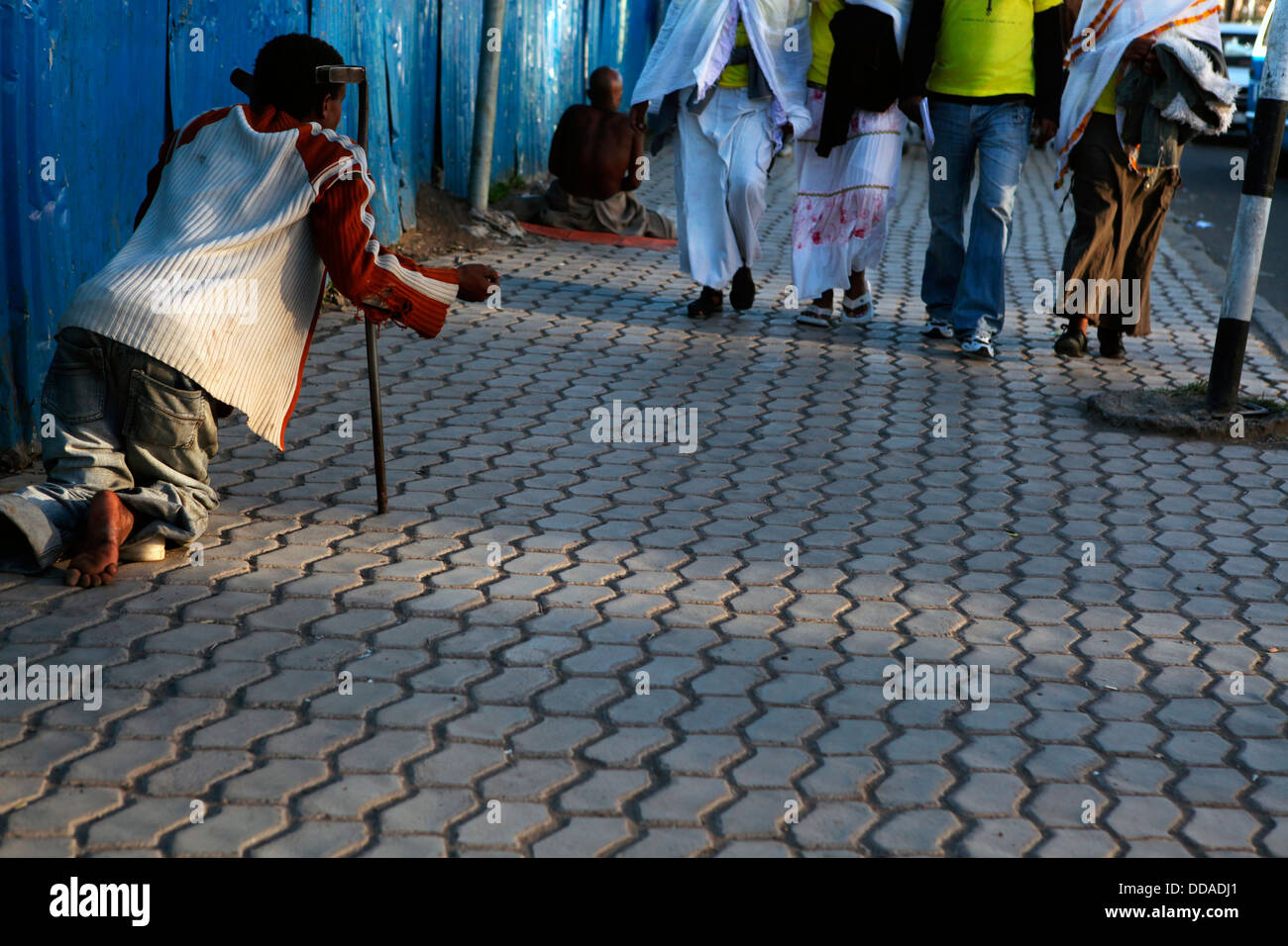 Beggar on the streets of Addis Ababa, Ethiopia. - Stock Image