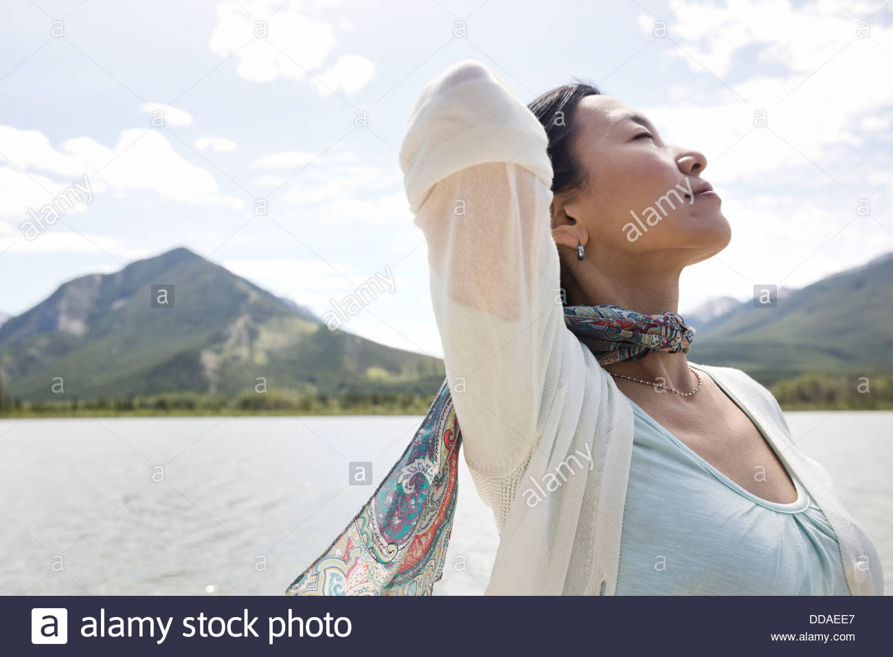Mature woman enjoying the great outdoors - Stock Image