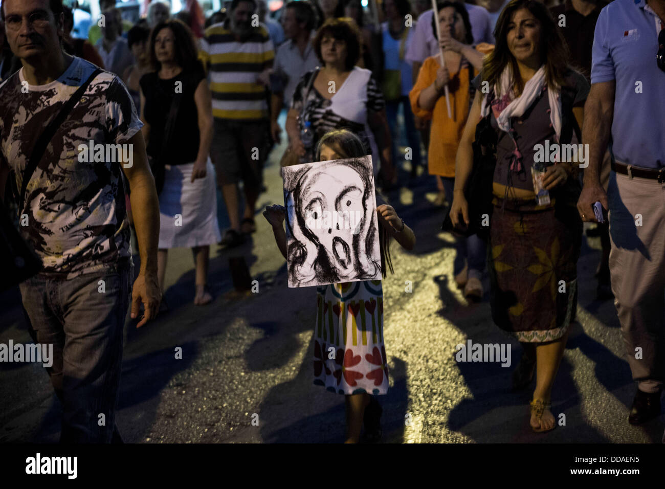 Thessaloniki, Greece. 29th Aug, 2013. Protest march from Primary Private and Public Unions of Thessaloniki with Stock Photo