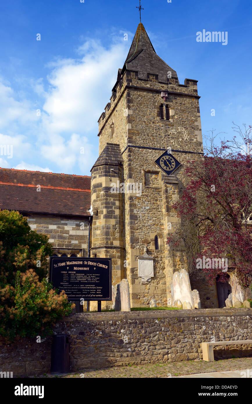 The Parish Church of St Mary Magdelene and St Denys, Midhurst, West Sussex, UK - Stock Image