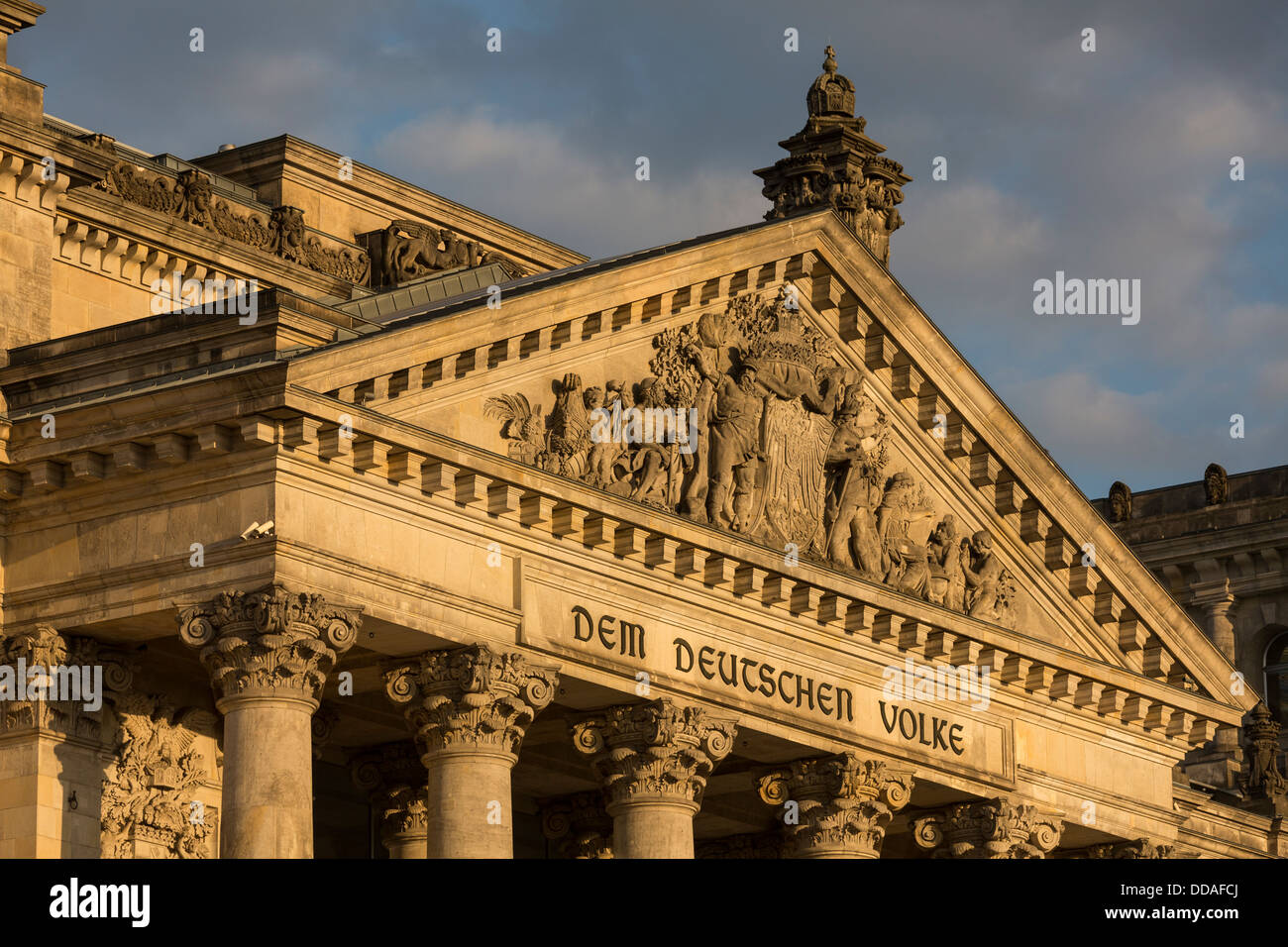pediment of the Reichstag building, Berlin, Germany - Stock Image