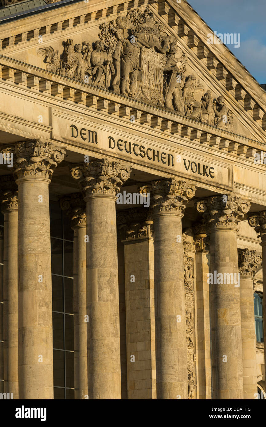 columns and pediment, entrance, the Reichstag building, Berlin, Germany - Stock Image