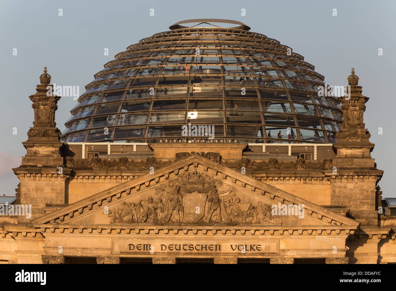 pediment and dome of the Reichstag building, Berlin, Germany - Stock Image