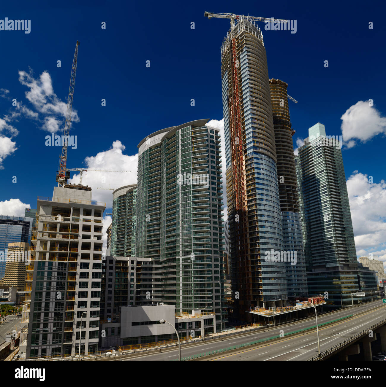Highrise condominium construction along the Gardiner Expressway Toronto near Harbourfront - Stock Image