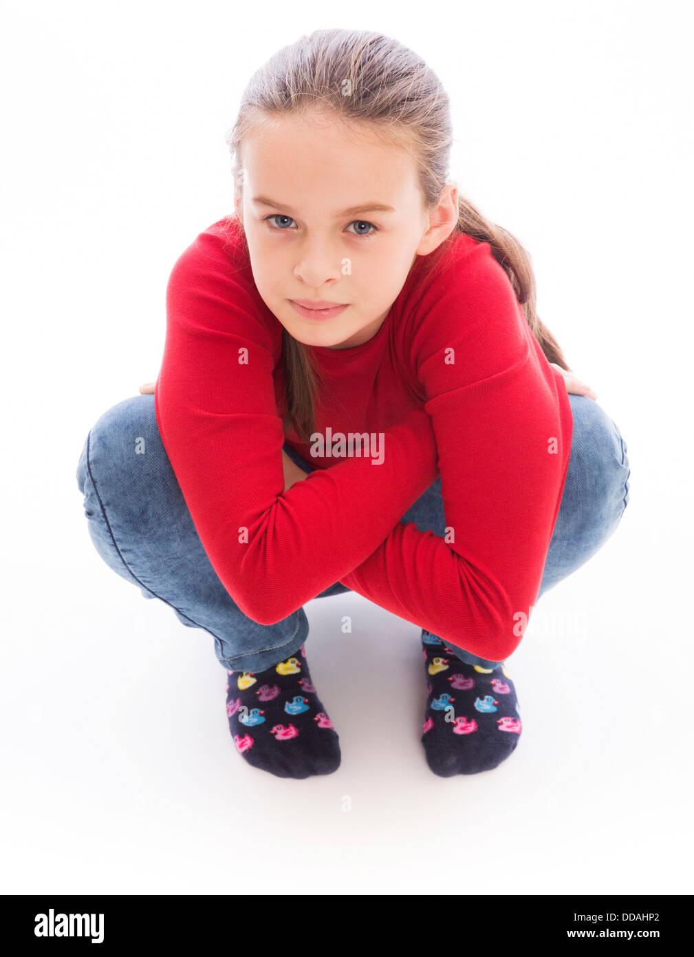 Crouching woman stock image. Image of black, yelling