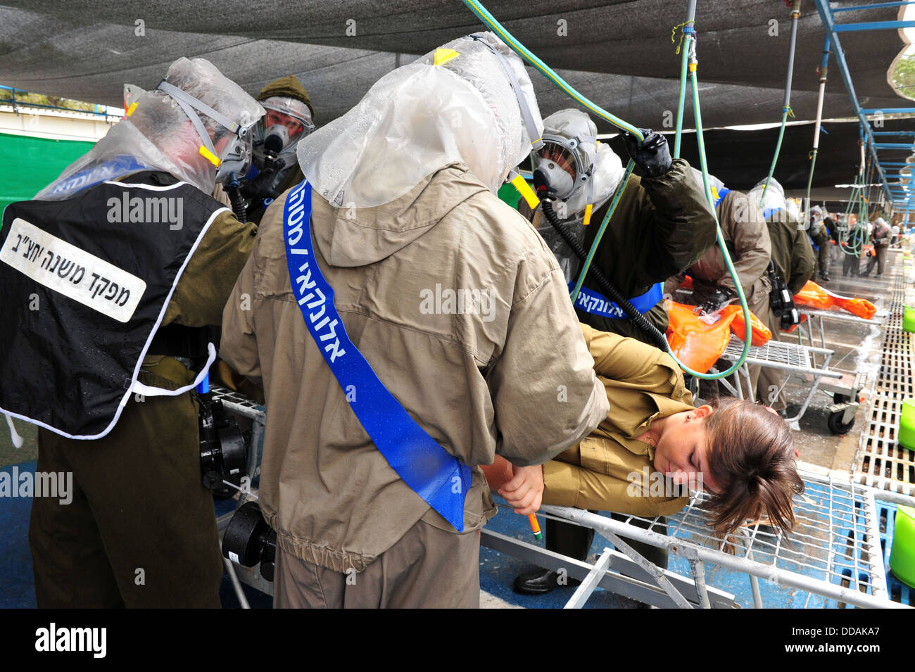 Scenario which prepared for a possible chemical and biological rocket attack on Israel - Stock Image