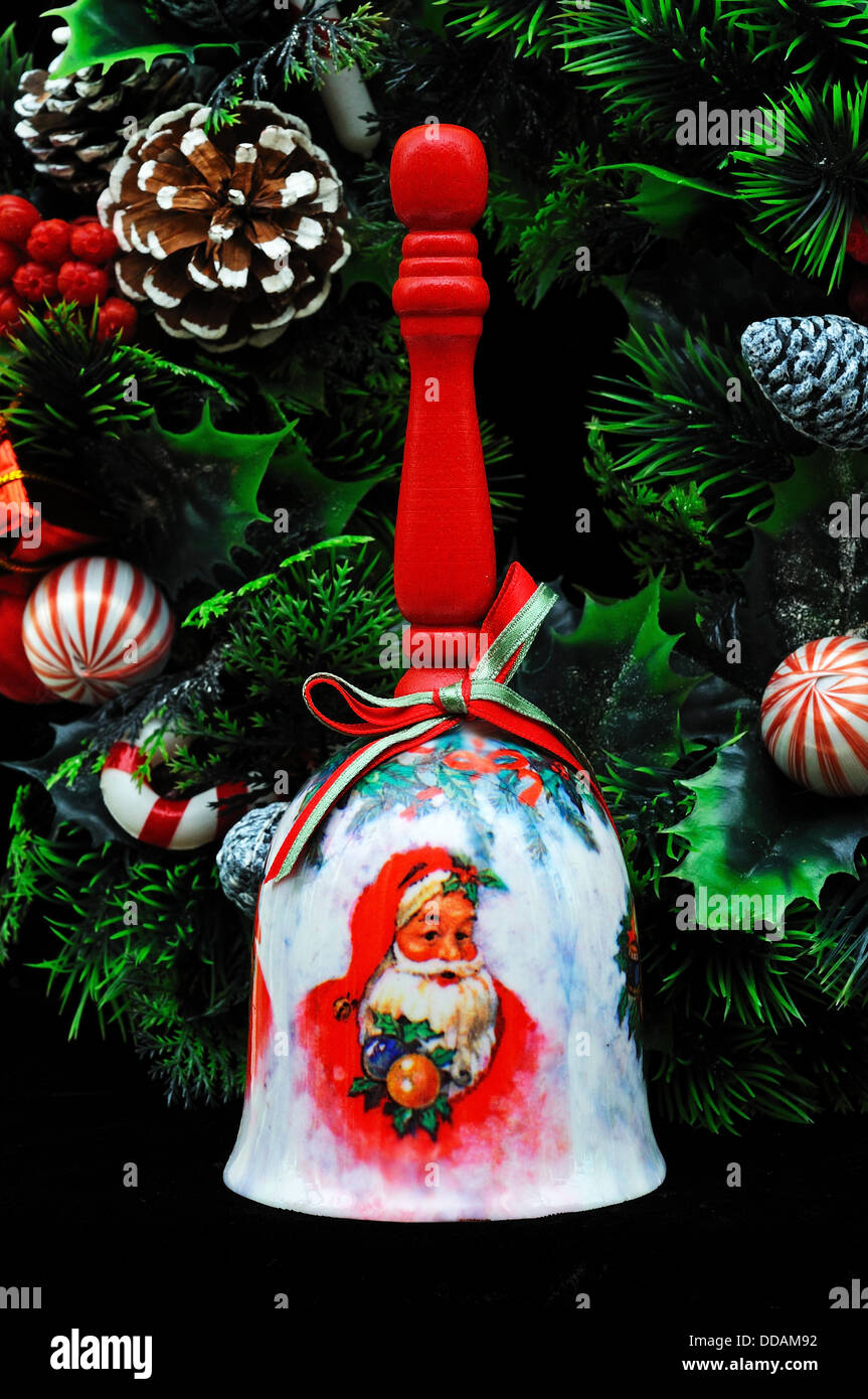 Ceramic Christmas Hand Bell With Wooden Handle And Christmas Wreath