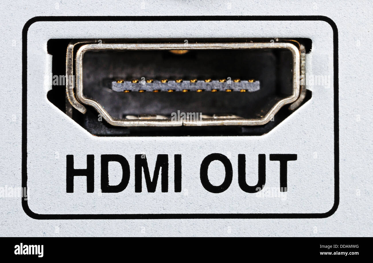 HDMI out socket on HDD/AV appliance. Stock Photo
