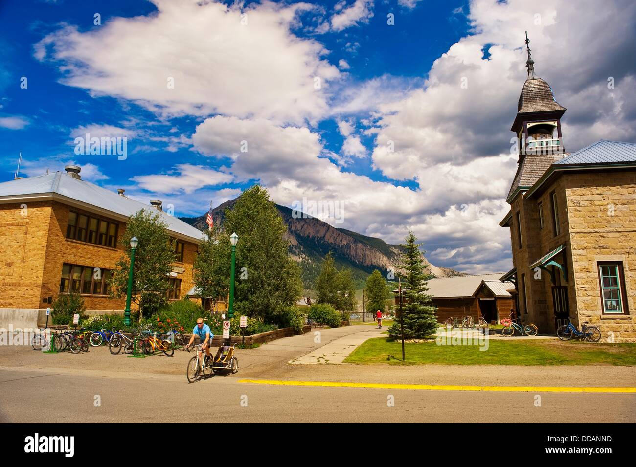 Old Rock Community Library, Crested Butte, Colorado USA - Stock Image