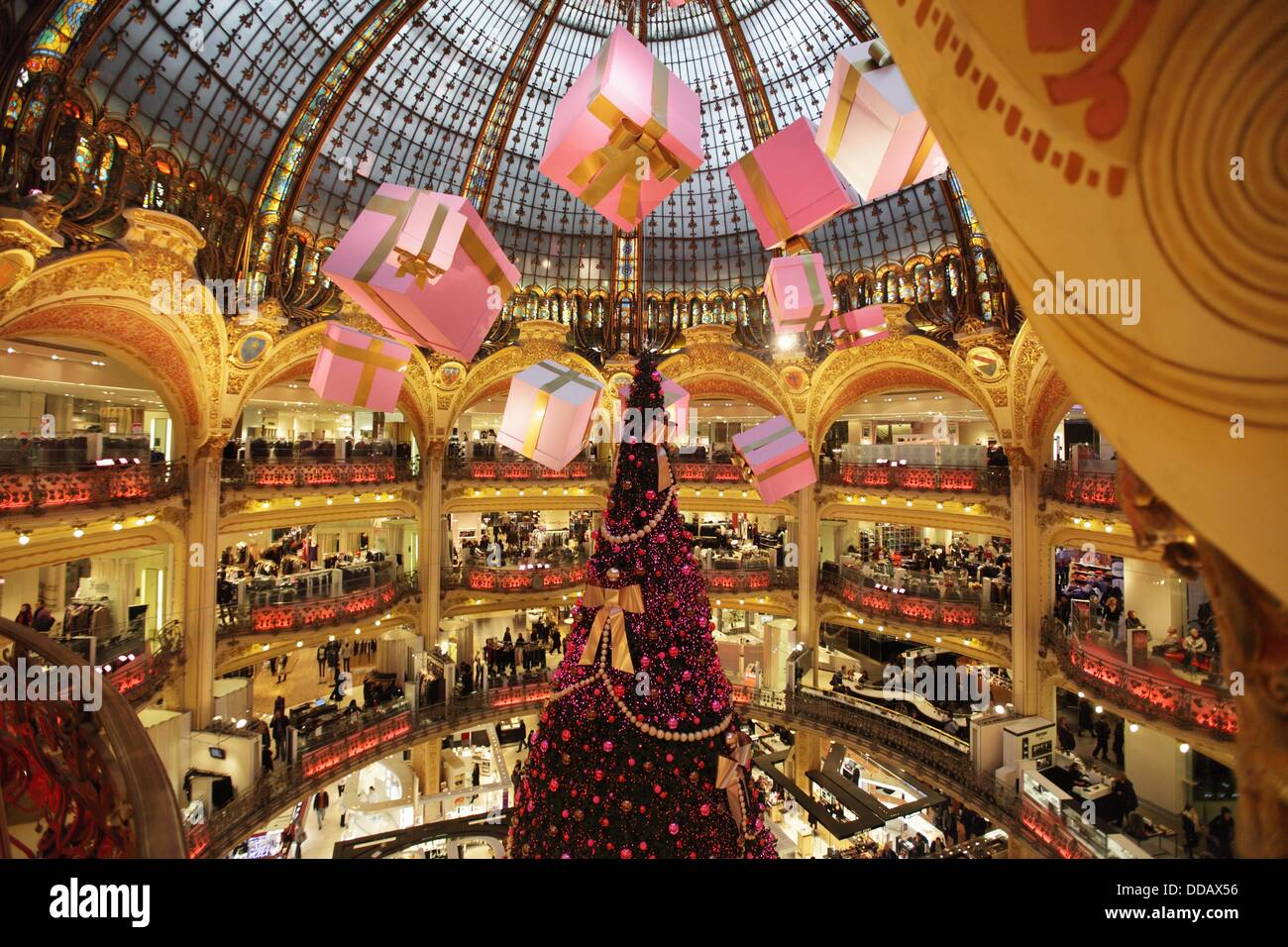 christmas decorations in galeries lafayette department store paris le de france france