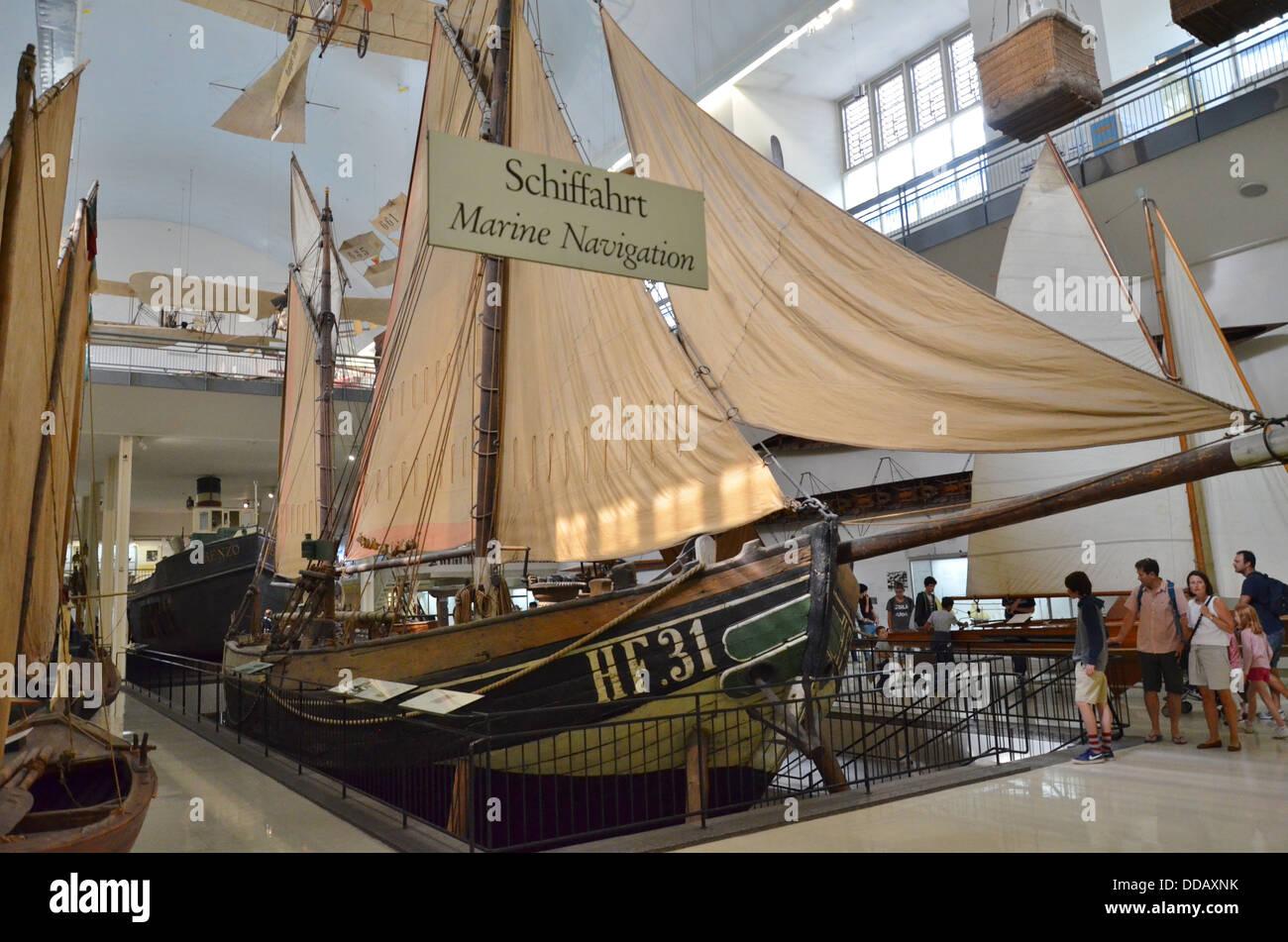 Deutsches Museum, Munich Bavaria Germany, the Ewer/Lighter 'Maria' deep sea fishing boat, marine navigation - Stock Image