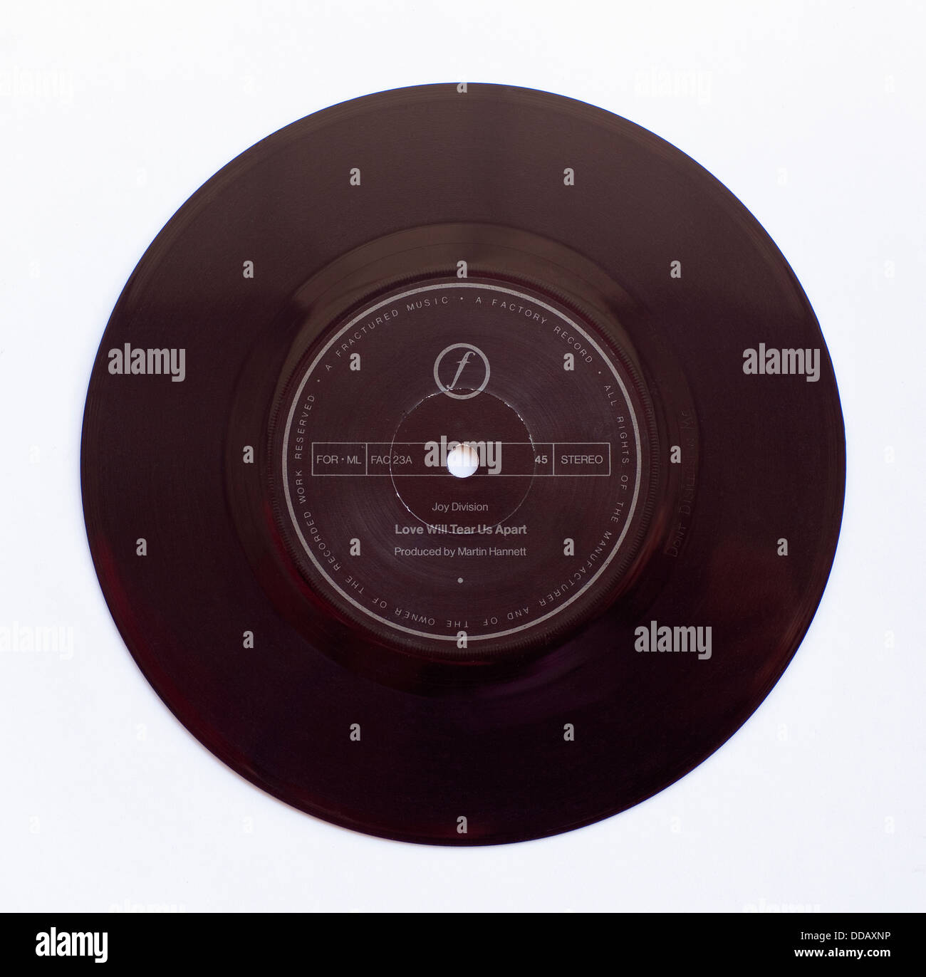 Joy Division - Love Will Tear Us Apart, 1980 7' single on Factory Records - Stock Image