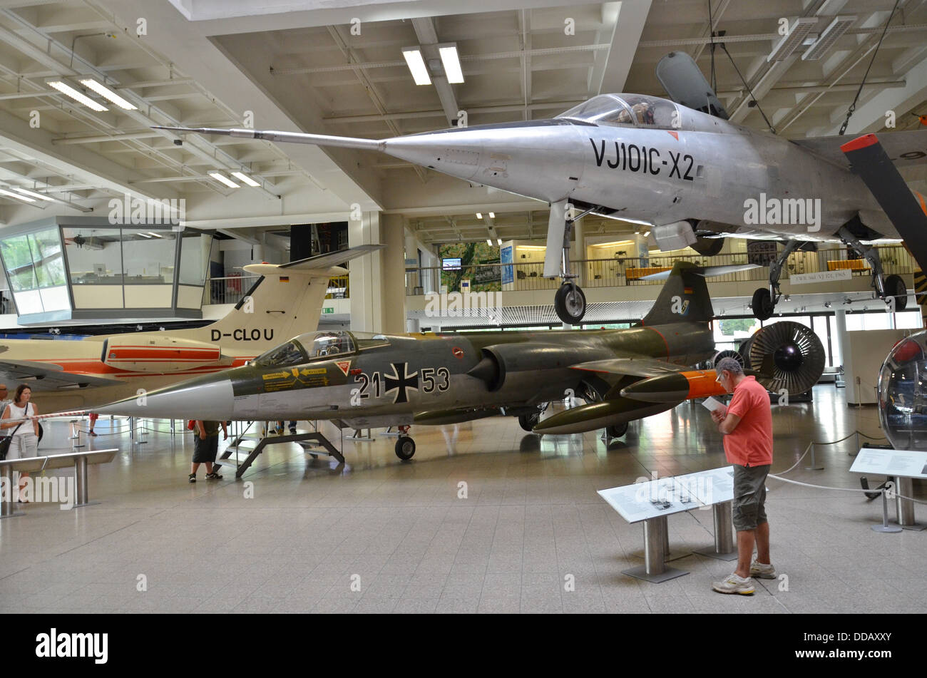 Germany, Munich Deutsches Museum Jets and Helicopters, new aeronautics hall aviation history - Stock Image