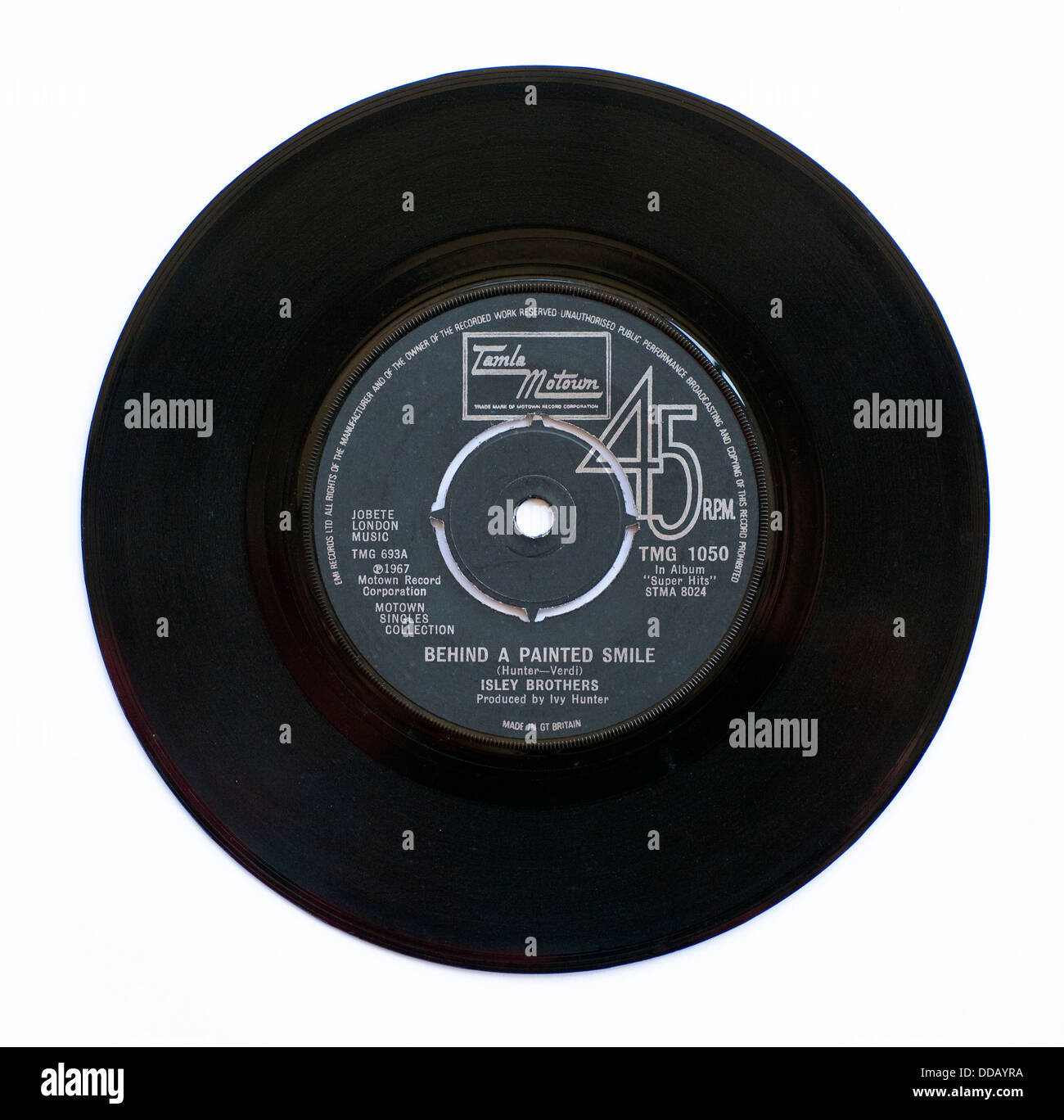 """Isley Brothers - Behind A Painted Smile, 1967 7"""" single on Tamla Motown Stock Photo"""