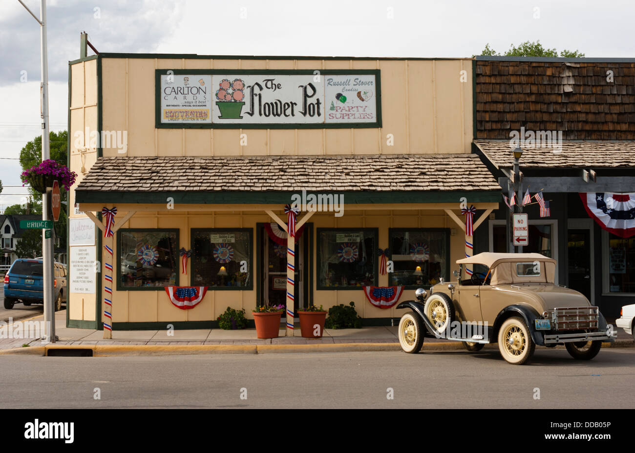 Vintage car (1931 Ford Model A Deluxe Roadster) parked in front of a ...