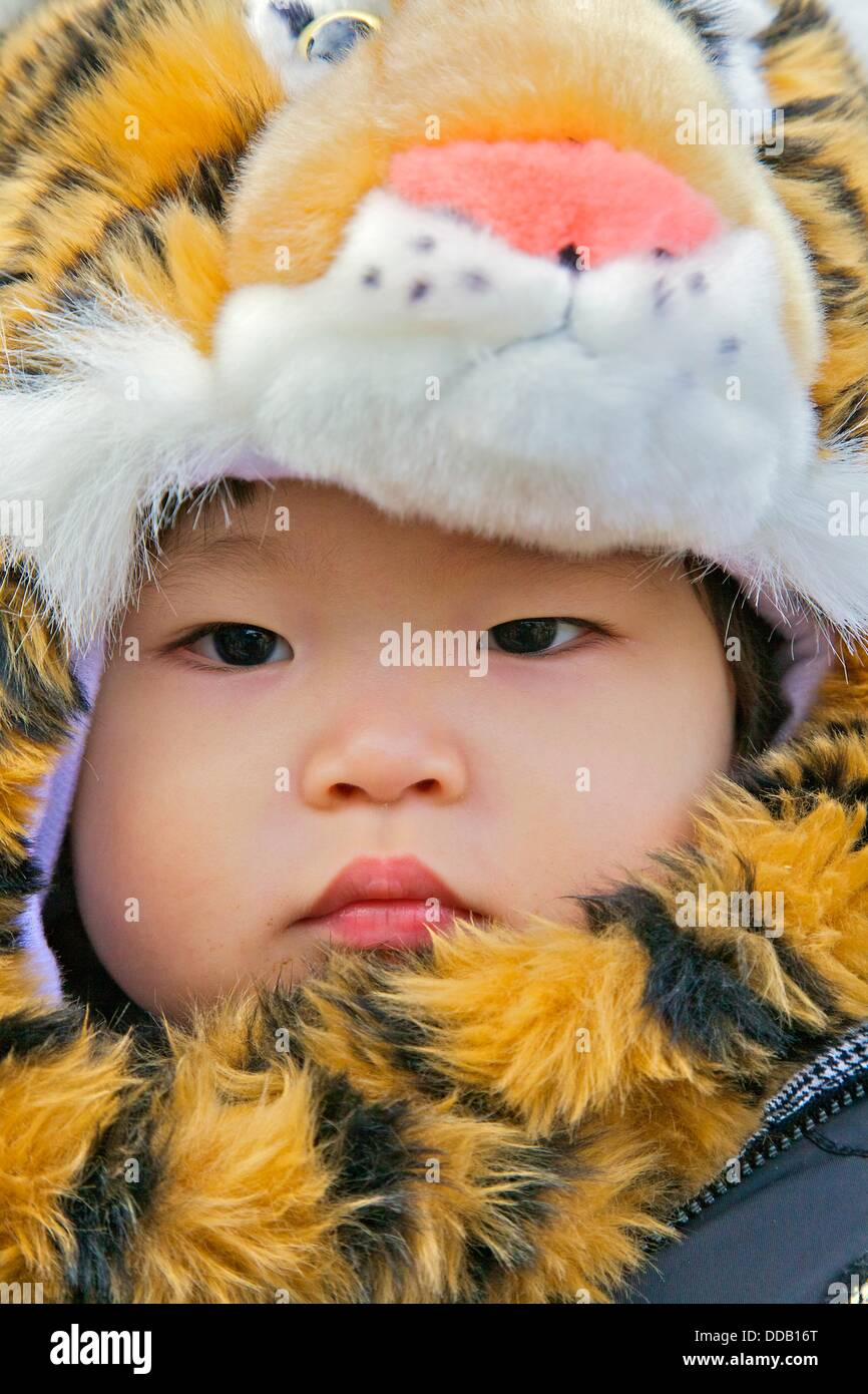 A child dressed up in a tiger outfit  for the New Year´s celebration for the year of the tiger - Stock Image