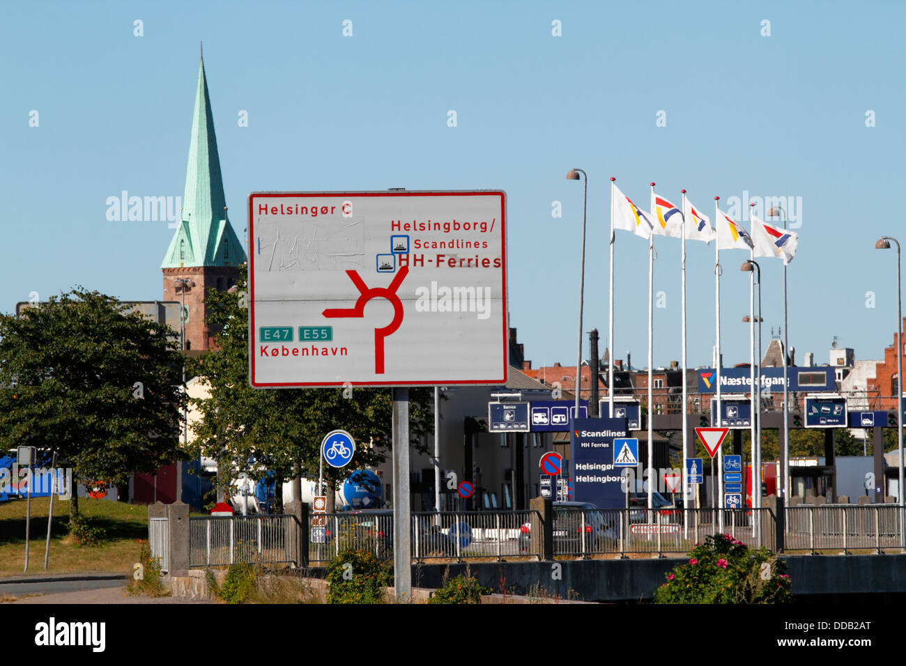 Somewhat confusing view in the last roundabout from the coastal road to Elsinore (Helsingør) or the ferry to - Stock Image