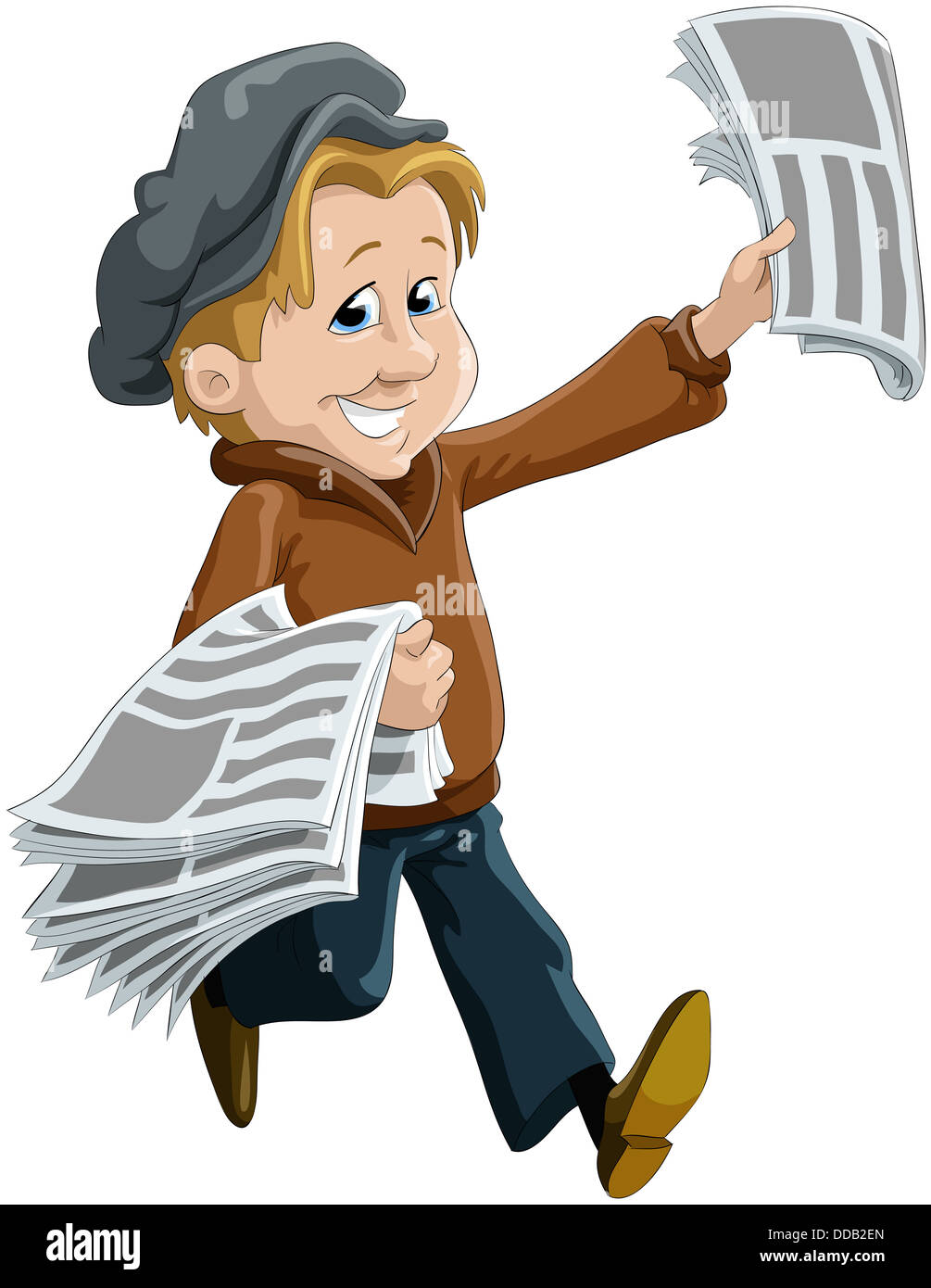 The child the messenger of newspapers Stock Photo